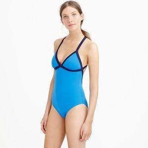 J Crew color block criss cross one piece swimsuit